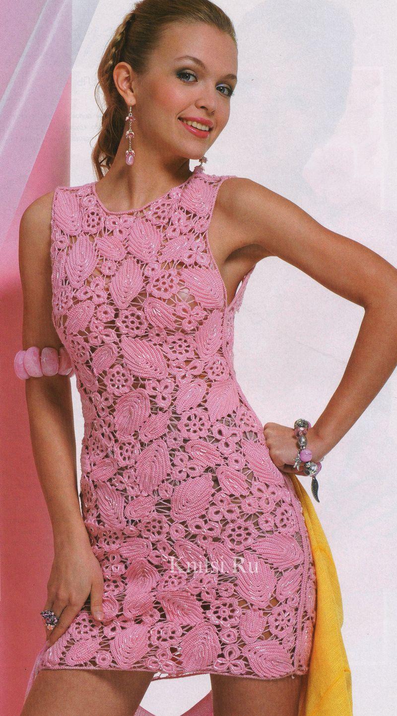 Вязание крючком схемы и модели платьев сарафанов