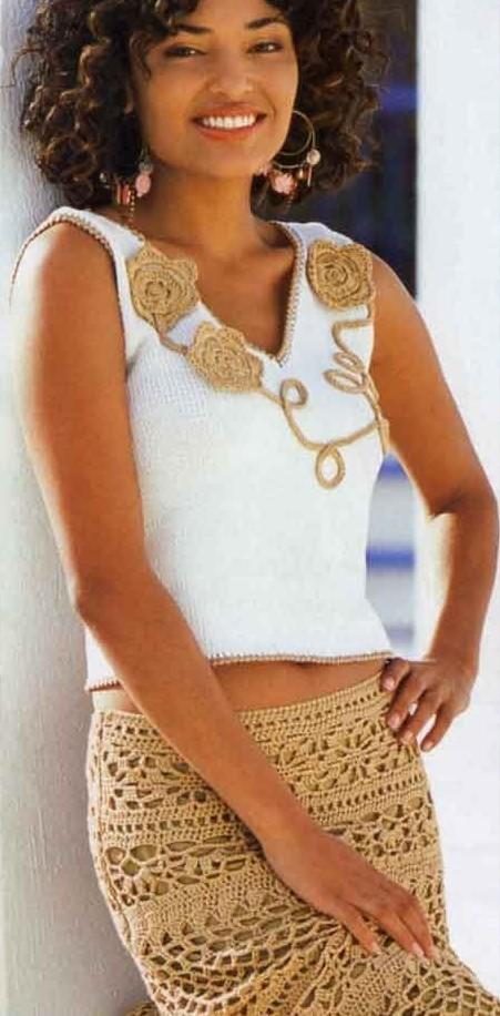 схемы вязания летней юбки,