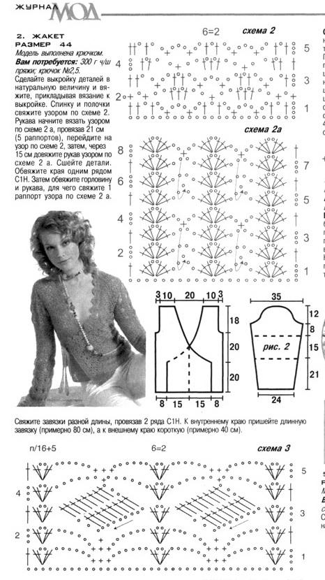 Схема вязания летней женской кофты